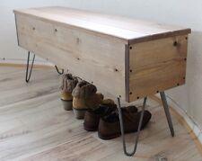 Rustic,Industrial Wooden Storage Bench Metal Hairpin Legs