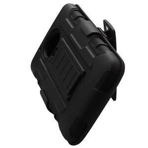 Motorola Moto E4 XT1760 - Black Hard Hybrid Holster Combo Case Cover + Belt Clip