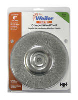Weiler  Vortec  6 in. Fine  Crimped  Wire Wheel  Carbon Steel  3750 rpm 1 pc.