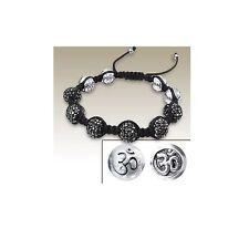 Ohm Om Aum Silver Beads Black Crystal Beaded Woven Black Bracelet Wristband