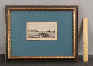 Antique JACQUES APPIAN French Etching, Le Champ de Ble, Wheat Field Farmer, NR