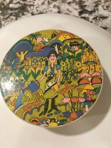 """Springbok 7"""" CircularJigsaw Puzzle Psychedelic Mother Goose 1970 Larry Bowser"""
