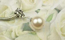 Creamrose Crystal Pearl Dangle Charm Bead European Style w Swarovski Elements