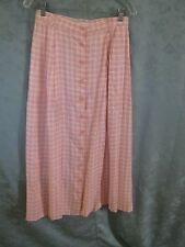 90's Portraits Size 12 Button Front Pink Plaid Skirt NWT High Waist