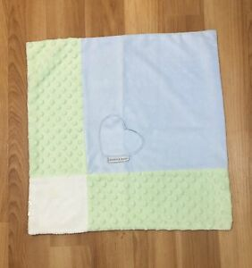 Blankets & Beyond Blue and Green Heart Patchwork Security Blanket Lovey Silky AD