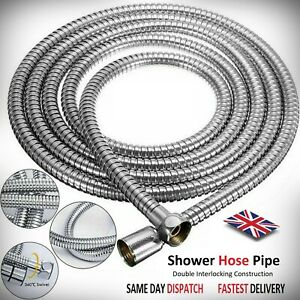 Shower hose 1.2m to 2m chrome bath flexible stainless steel replacement PIPE