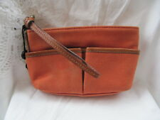 #BURBERRY RUST ORANGE CANVAS LEATHER BURBERRY COSMETIC BAG purse handbag tote