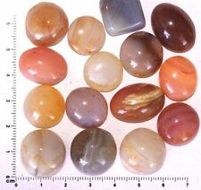 10 pcs. Tumbled Polished Natural Agate Gemstone Round and Oval Cabochons