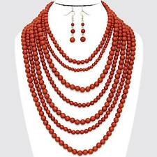 Chunky Orange Bead Pearl Gold Chain Necklace Earring Set Fashion Costume Jewelry