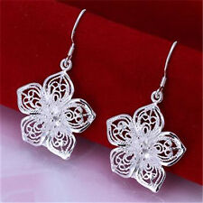Gorgeous Jewelry Xmas Gift Ladies Solid Silver Fashion Flower Earrings + Box