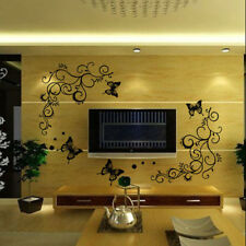 Removable Butterfly Flower DIY Vinyl Decals Art Mural Home Decor Wall Sti Pro AU