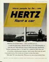 1956 ORIGINAL VINTAGE HERTZ CAR  RENTAL MAGAZINE AD