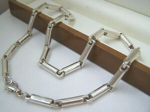"MODERNIST SOLID STERLING SILVER MENS CHUNKY FANCY LINK 20"" CHAIN NECKLACE HEAVY"