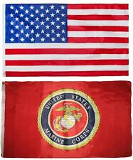 Wholesale Combo Lot 3'x5' USA American& USMC Marine Corps Red Emblem Flag 3X5