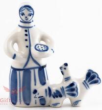 Gzhel Russian Handpainted Porcelain Folk Figurine peasant woman feeding chickens