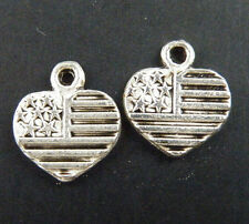 "150pcs Tibetan Silver Heart ""Made in USA"" Word Charms 13x12x1mm 11513"