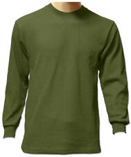 S New Men Heavy Weight Plain Thermal Long Sleeve Waffle Shirts Colors Size 6XL