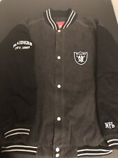 NFL Oakland Raiders Football Varsity Button Jean Jacket Men XL Embroidery Black