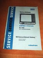 DDR Kult RFT Serviceanleitung Schaltplan robotron Fernseher color-Vision RC 9140