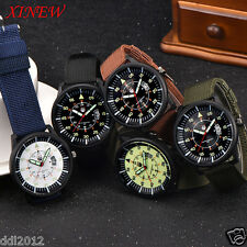 XINEW Mens Canvas Band Date Military Sport Waterproof Quartz Analog Wrist Watch