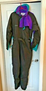 COLUMBIA One Piece Snow/Ski/Snowmobile Suit Men's Medium Black w/Purple Trim