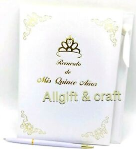 Mis Quince Anos Quinceanera Guest Book with Gold Design Decoration
