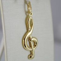 18K YELLOW GOLD PENDANT CHARMS, TREBLE CLEF, VIOLIN KEY, 36 MM, MADE IN ITALY