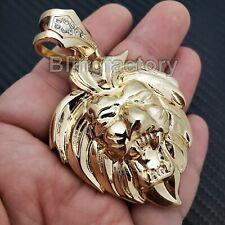 HIP HOP ICED RAPPER STYLE GOLD PLATED LION HEAD LEO FASHION CHARM PENDANT