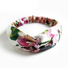 Fascia per capelli elastica donna nodo elegante bianca rosa verde fucsia fiori