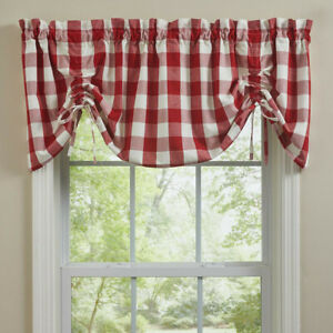 """1 Wicklow True Red Off White Check Country Lined Farmhouse Valance 60"""" x 20"""""""