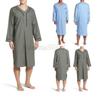 Mens 100%Cotton V Neck Soft Pajamas Casual Loose Bathrobe Nightwear Dress Kaftan