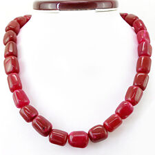BEAUTIFUL 901.10 CTS EARTH MINED 20 INCHES LONG RICH RED RUBY BEADS NECKLACE