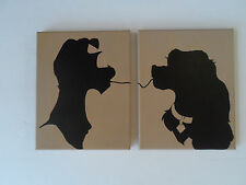 Disney Lady and The Tramp Hand Painted Canvas Wall Hangings / Wall Art - Set of