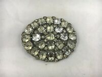 Antique Victorian Paste Glass Stone Clear Stone Brooch Round Oval