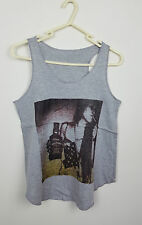 VTG GREY WOMAN NOVELTY HIPPY FESTIVAL OVERSIZED URBAN RENEWAL VEST TOP VGC UK M