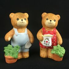 2 Vtg Figurines Lucy & Me Bears by Enesco 1980 Boy and Girl Gardeners Lucy Rigg