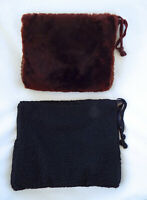 Vintage Muff Clutch Large Black Curly Lambs Wool Faux Brown Fur Hand Warmer Lot