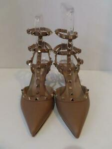 Valentino Beige Rock Stud Strappy Pebbled Leather Heels/Shoes EUR 39/US 8.5