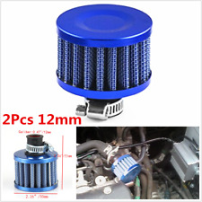2Pcs 12mm Mini Cone Car Racing Turbo Air Intake Crank Case Breather Filter Blue