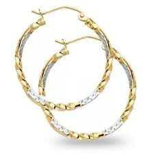 Curled Hoops 14k Yellow White Gold Round Earrings Diamond Cut Design Two Tone