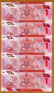 LOT Trinidad and Tobago, 5 x $1 2020 (2021) P-New, Polymer UNC > Redesigned