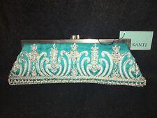 NEW Santi Silk Satin Clutch, Beaded purse, evening bag, handbag, Retail: $200