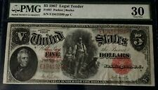 $5 SERIES 1907 LEGAL TENDER WOODCHOPPER US NOTE PMG30 VF  Fr#87 PARKER-BURKE ppC