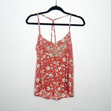 Hollister Racerback Tank Top Size M Orange Red Floral Embroidered NEW Flowy Boho
