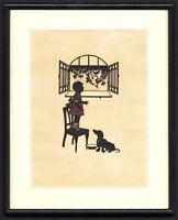 Original-SILHOUETTE CUT-SCHERENSCHNITT-GIRL WATCHING BIRD-DOG-1920