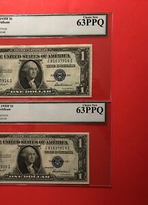 1935F-2 SILVER CERTIFICATE $1 NOTES,GRADED BY LEGACY CHOICE NEW 63 PPQ.
