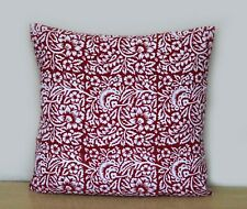 """16"""" Square Cushion Cover Multi Floral Red White Pillow Covers Indian Handmade"""