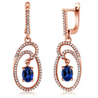 3.24 Ct Oval Blue Created Sapphire 18K Rose Gold Plated Silver Dangle Earrings