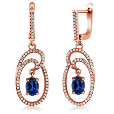 3.24 Ct Oval Blue Simulated Sapphire 18k Rose Gold Plated Silver Earrings