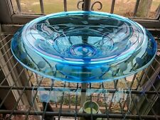 Elegant Etched Blue Glass Console Bowl Rolled Edge Floral & Dots